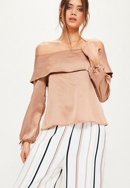 Tall Exclusive Brown Satin Folded Bardot Top