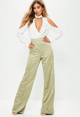 Tall Exclusive Green Satin Wide Leg Trousers