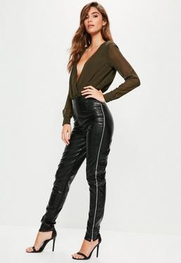 Tall Exclusive Black Faux Leather Side Zip Trousers