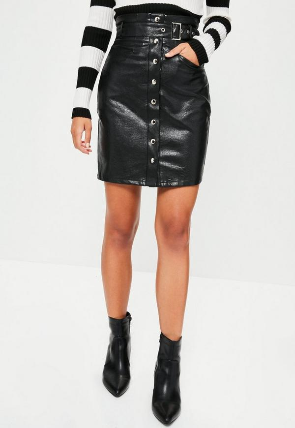 Tall Exclusive Black Faux Leather Belted Skirt | Missguided