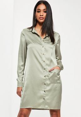 Robe-chemise oversize en satin vert Tall