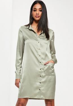 Tall Exclusive Green Satin Oversized Pocket Shirt Dress