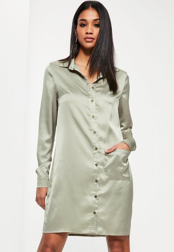 Tall Exclusive Green Satin Oversized Pocket Shirt Dress
