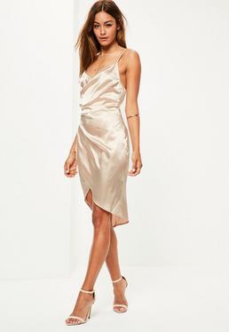 Beżowa satynowa sukienka na ramiączkach dla wysokich kobiet