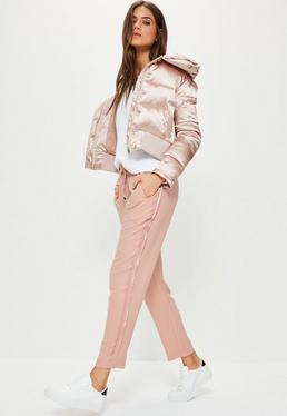 Tall Exclusive Nude Crepe Satin Side Seam Joggers