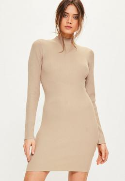 Tall Brown Mini Sweater Dress