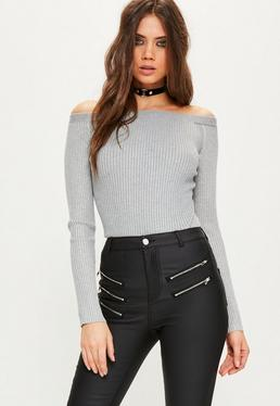 Tall Grey Ribbed Bardot Knitted Bodysuit