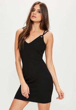 Tall Black Strappy Eylet Detail Mini Dress
