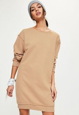 Tall Brown Raw Edge Oversized Jumper Dress