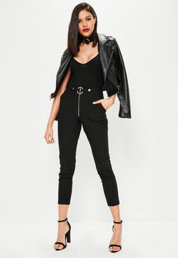 Czarne spodnie cygaretki z zamkiem i paskiem dla wycokich kobiet
