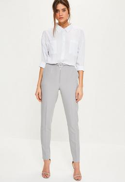 Tall Grey Circle Ring Detail Cigarette Trousers
