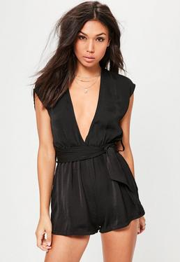 Tall Black Silky Plunge Belted Romper