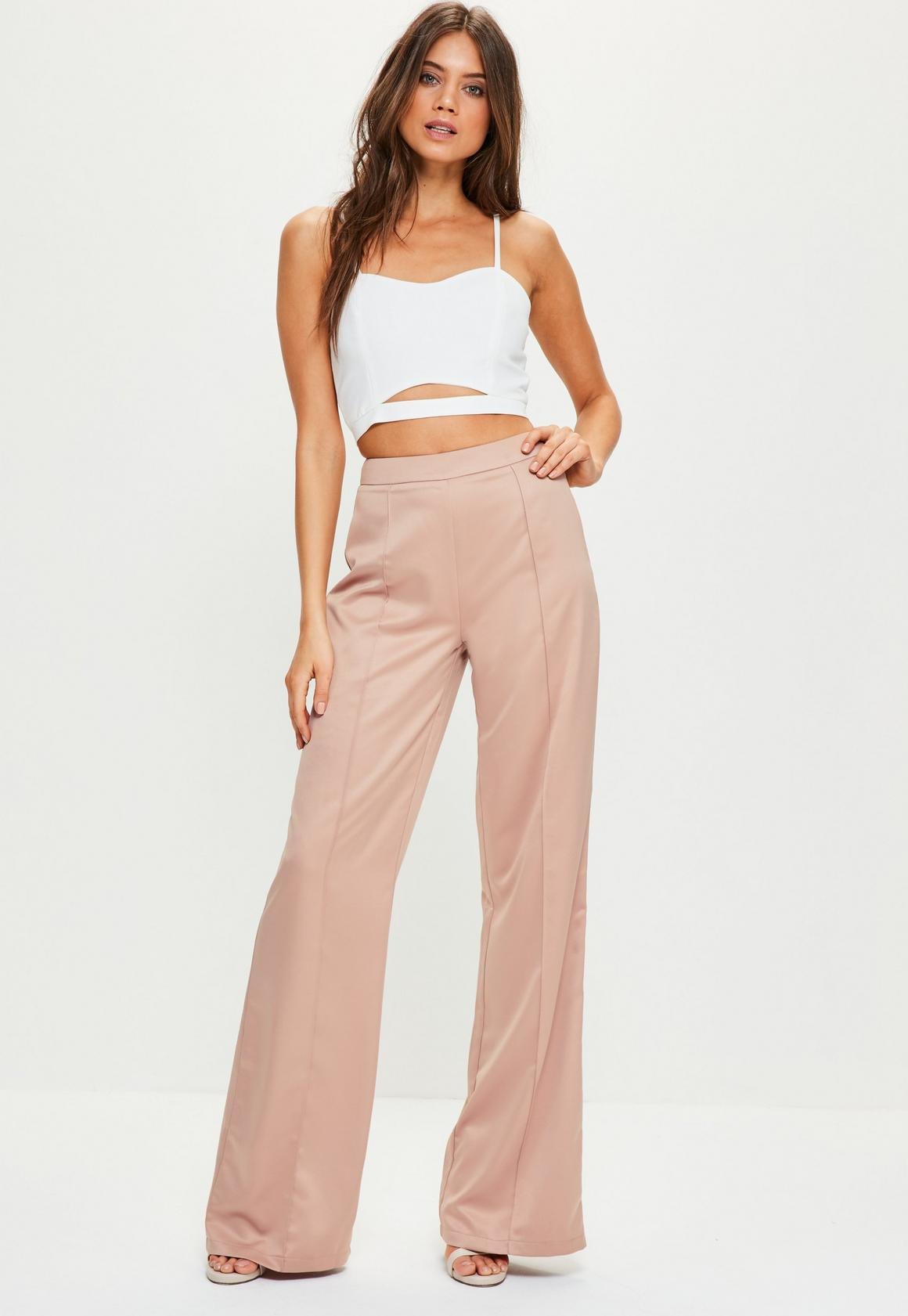 Tall Pink Satin Wide Leg Trousers | Missguided