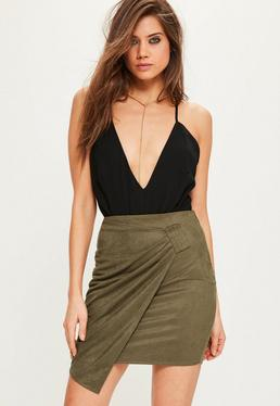 Tall Exclusive Khaki Faux Suede Ring Detail Mini Skirt