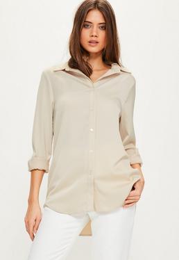 Beżowa ekskluzywna koszula dla wysokich kobiet