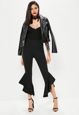 Tall Black Frill Hem Cropped Trousers