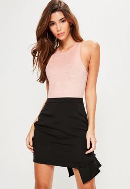 Tall Black Frill Covered Button Mini Skirt