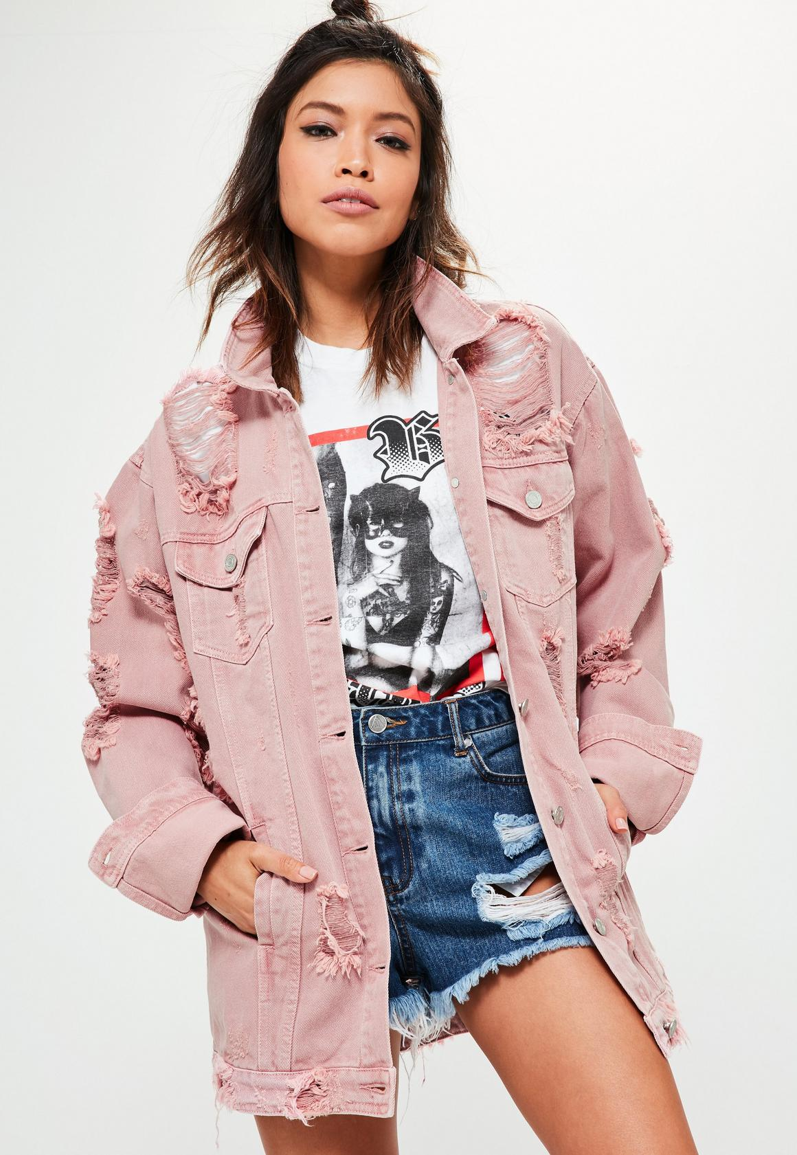 Tall Pink Distressed Denim Jacket | Missguided