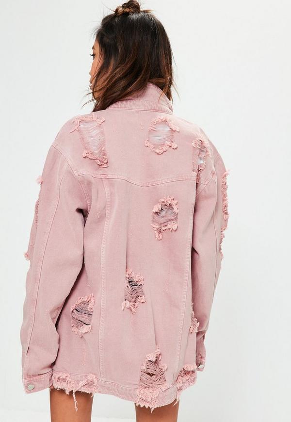 Tall Pink Distressed Denim Jacket | Missguided