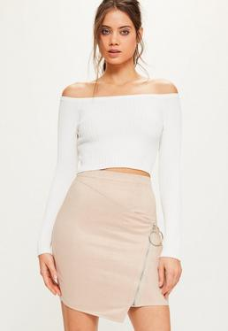 Tall Nude Faux Suede Ring Detail Mini Skirt