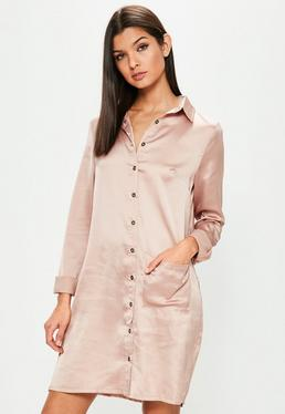 Tall Pink Satin Shirt Dress