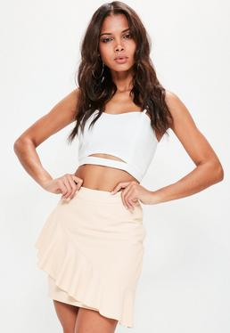 Tall Exclusive Nude Frill Detail Skirt