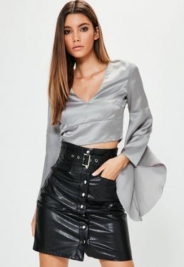 Tall Grey Satin Crop Top