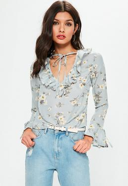 Tall Exclusive Blue Floral Printed Frill Detail Blouse