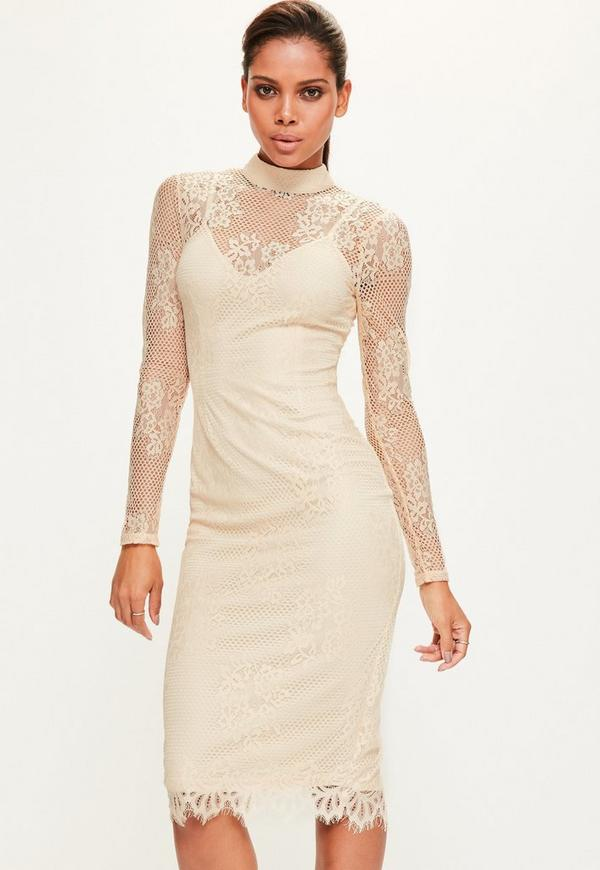 Tall Exclusive Nude High Neck Lace Dress