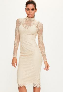 Tall Nude High Neck Lace Dress
