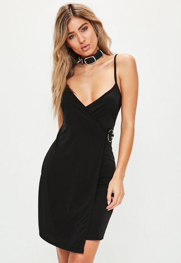 Tall Black Wrap Ring Detail Dress