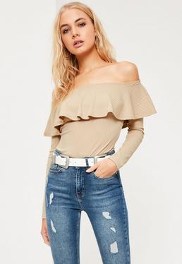 Tall Nude Ribbed Bardot Frill Bodysuit