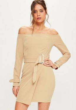 Tall Exclusive Nude Bardot Belted Buckle Detail Mini Dress