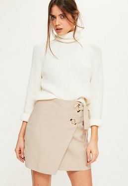 Tall Exclusive Nude Wrap Double Ring Tie Skirt
