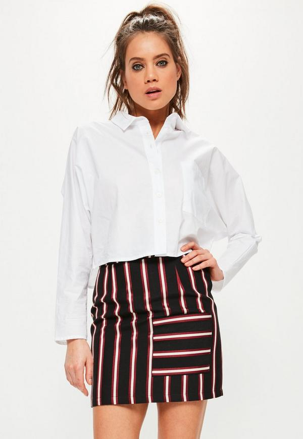 Tall Black Striped Pocket Front Skirt
