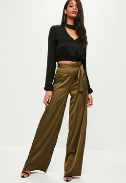 Tall Exclusive Khaki Satin Tie Waist Wide Leg Trousers