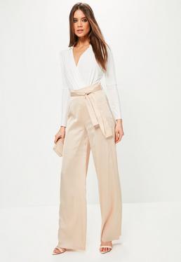 Beżowe satynowe spodnie z szerokimi nogawkami i wiązaniem exclusive dla wysokich kobiet