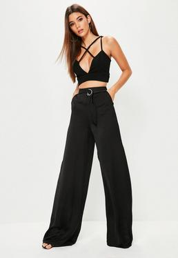 Tall Exclusive Black Satin D Ring Trousers