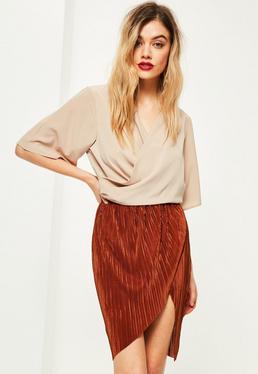 Tall Orange Crinkle Midi Skirt