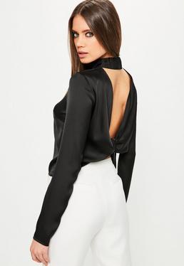 Czarny ekskluzywny top z odkrytymi plecami dla wysokich kobiet