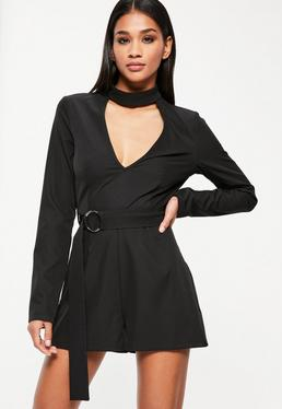 Tall Black Ring Tie Waist Playsuit