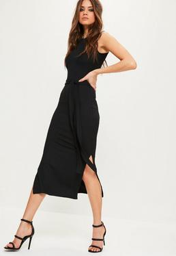 Tall Exclusive Ribbed Side Split Midi Dress Black