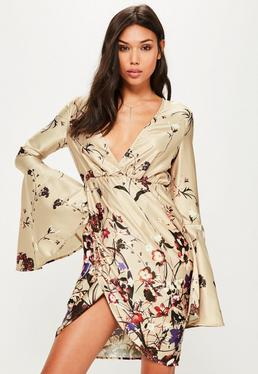 Tall Exclusive Nude Satin Printed Plunge Dress