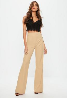Tall Nude Flare Trousers