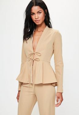 Tall Nude Peplum Tailored Blazer