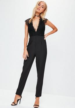 Tall Black Lace Sleeveless Plunge Jumpsuit