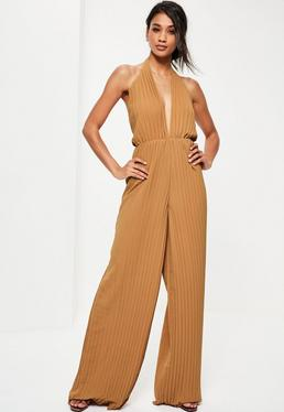 Tall Brown Halterneck Pleated Jumpsuit