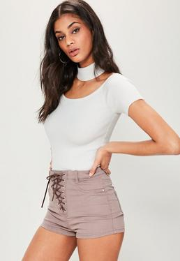 Tall White Ribbed Choker Neck Bodysuit