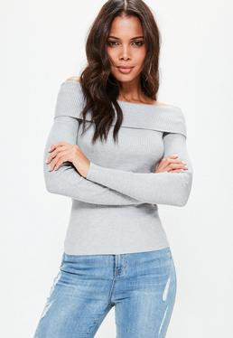 Grey Tall Ribbed Bardot Jumper