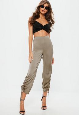 Szare satynowe pomarszczone spodnie dla wysokich kobiet
